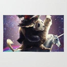 Cat Riding Chicken Turtle Panda Llama Unicorn Rug
