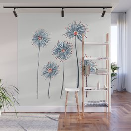 Five Fuzzy Flowers Wall Mural