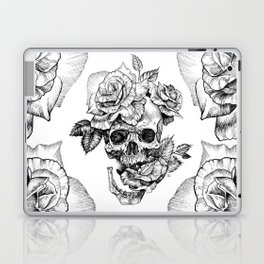 Black and White skull with roses pen drawing Laptop & iPad Skin