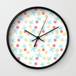 Salish Starfish in White Wall Clock