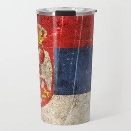 Vintage Aged and Scratched Serbian Flag Travel Mug