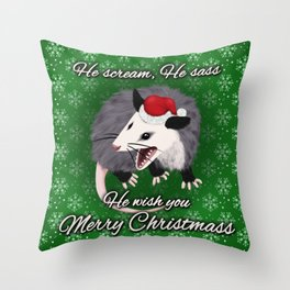 Christmas Opossum Throw Pillow