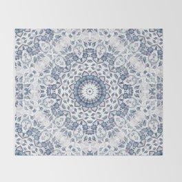 Grayish Blue White Flowers Mandala Throw Blanket