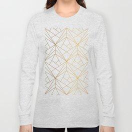 Golden Diagonal lines Pattern Long Sleeve T-shirt