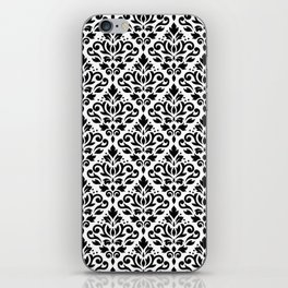 Scroll Damask Big Pattern Black on White iPhone Skin