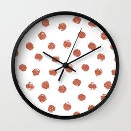 Copper Polka Dots Wall Clock