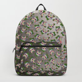 Grey Cat - Day of the Dead Sugar Skull Kitty Backpack