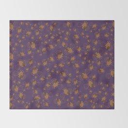 Adorable bats for Halloween (Purple) Throw Blanket