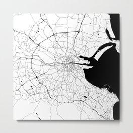 White on Black Dublin Street Map Metal Print