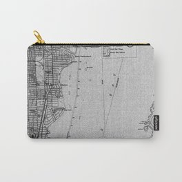 Miami Florida vintage map year 1950, grey usa maps Carry-All Pouch