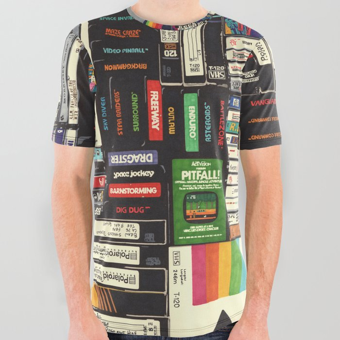 Cassettes, VHS & Games All Over Graphic Tee