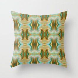 Blue-green and Brown pattern Throw Pillow