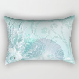 SEASHELL DREAMS | blue Rectangular Pillow