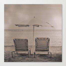 The loneliness of the deck chairs - La soledad de las tumbonas Canvas Print