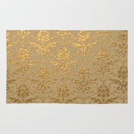 Gold Metallic Damask Beige Rug
