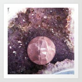 Amethyst and Pink Quartz Gemstone Art Print