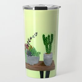 Cacti and Succulents on Greens Travel Mug