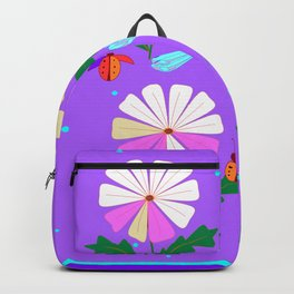 A Spring Rain on Daisies with Lady Bugs and Dragonflies Backpack