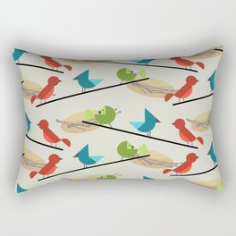 Mid Century Modern Birds Rectangular Pillow