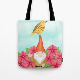 gnome with yellow warbler and petunias Tote Bag