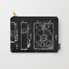 Turntable Patent - White on Black Carry-All Pouch