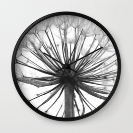 Black and White Dandelion Wall Clock