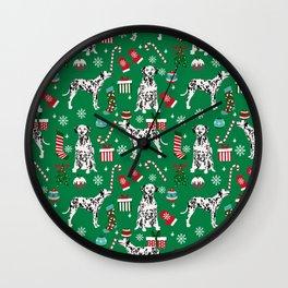 Dalmatian dog breed christmas holiday presents candy canes dalmatians dogs Wall Clock