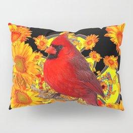 BUTTERFLIES  RED CARDINAL SUNFLOWERS BLACK ART Pillow Sham