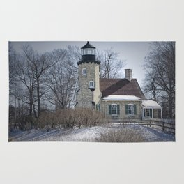 Lighthouse during Winter in Whitehall Michigan Rug