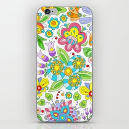 Background colorful flowers, doodleart, abstract graphic-desing vector pattern iPhone Skin