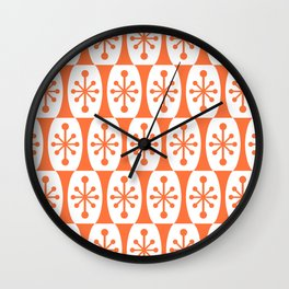 Mid Century Modern Atomic Fusion Pattern Orange Wall Clock