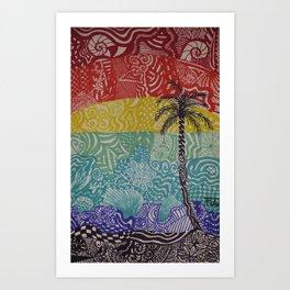 Doodle Sunset Art Print