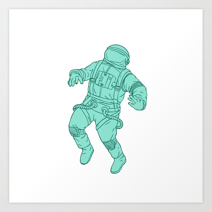 Astronaut Floating In Space Drawing Art Print By Patrimonio Society6