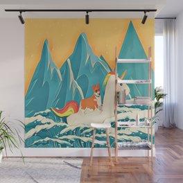 Corgi and the rainbow unicorn Wall Mural