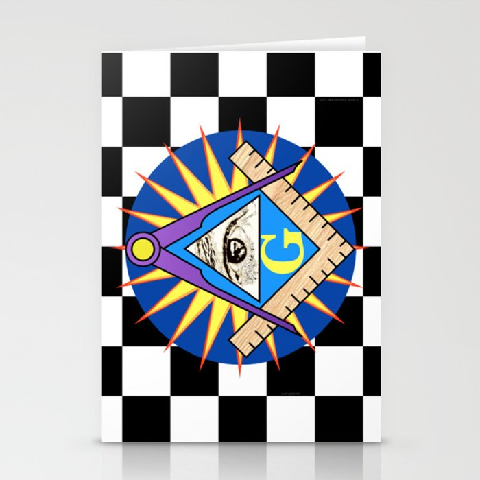 Masonic Square & Compass On Blue Disc Stationery Cards by essexart