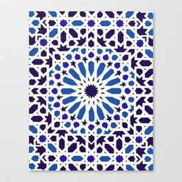 V19 Epic Light Blue Traditional Moroccan Pattern Design . Canvas Print