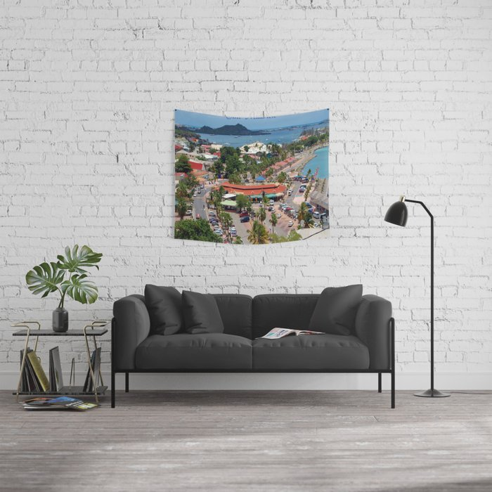 Colorful island and city scenes of Sint Maarten - St. Martin Wall Tapestry
