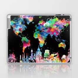world map city skyline 3 Laptop & iPad Skin
