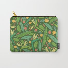 Strelitza with palm leaves and orange pomegranate on dark green background Carry-All Pouch