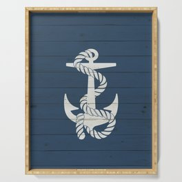 Blue Wood Anchor Serving Tray