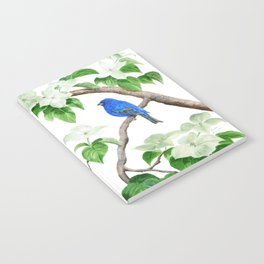 Royal Blue-Indigo Bunting in the Dogwoods by Teresa Thompson Notebook