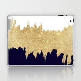 Modern navy blue white faux gold glitter brushstrokes Laptop & iPad Skin