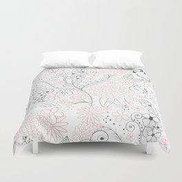 Classy doodles hand drawn floral artwork Duvet Cover