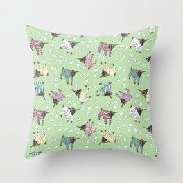 Pajama'd Baby Goats - Green Throw Pillow