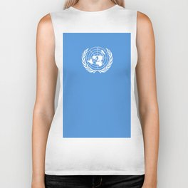 Flag on United nations -Un,World,peace,Unesco,Unicef,human rights,sky,blue,pacific,people,state,onu Biker Tank