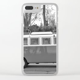 Retro Van (Black and White) Clear iPhone Case