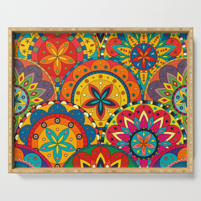 Funky Retro Pattern Mandalas Serving Tray