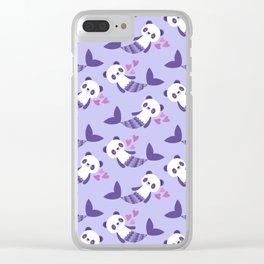 Cute purple merpandas Clear iPhone Case
