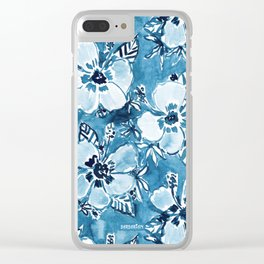 DANK DUDETTE Indigo Hibiscus Watercolor Clear iPhone Case