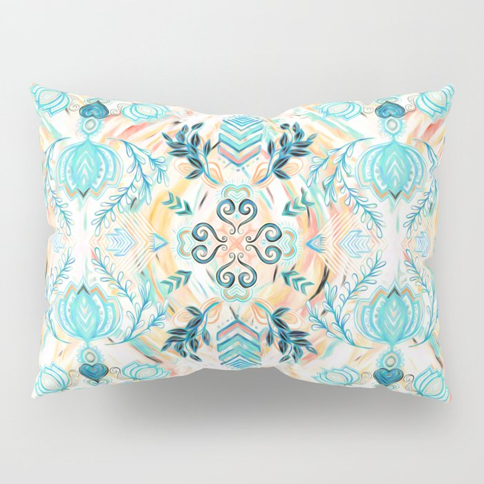 Abstract Painted Boho Pattern in Cyan & Teal Pillow Sham